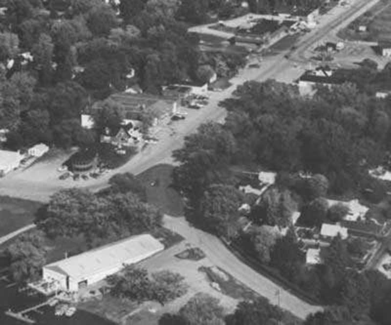 Aerial photo of the downtown area Center Beach, 1983. Photo by Western Service
