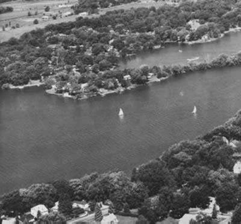 """Indian tribe known as Big Foot, once camped in the area now known as White Oaks Bay. They fished, hunted, and planted corn in the rich soil along Nippersink Creek. After the expansion of Wonder Lake, sailboats now glide through the """"Narrows"""" during the warmer months of the year. Photo by Western Service"""