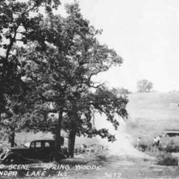 During the summer of 1929 the gates of the dam were closed until the water reached a level of the Ringwood/Greenwood Road that passed over the creek as well as a small tributary that entered the valley from the east near deep Springs Woods. The filling of the lake had to stop until the developers purchased the soon to be flooded right of way, and build a new road from platted subdivisions on the west side of the dam, all the  way to Rte 120. Photo by Joan Turner
