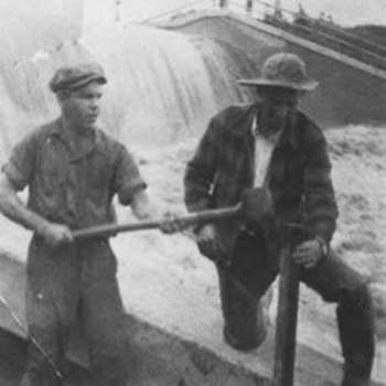 On July 6, 1938, a upstream thunderstorm sent a wall of water downstream threatening the dam. As the water level in the lake continued to rise, a group of Wonder Lakers, fearing total washout, rushed to the north end and began to sand bag the earthen dam. The dam held, in spite of water levels exceeding 3 feet above normal. Photo by C. Jacobson