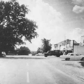 View down Hancock Drive, in the 1960's. Intersection of Hancock Dr., and E. Wonder Lake Rd, facing west, towards Center Beach. Photo by Bill Sullivan